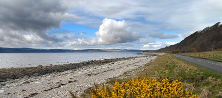 Coastine of the Isle of Arran and the Firth of Clyde on the west coast of Scotland photo