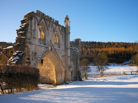 priory: Ruins of Kirkham Priory, situated on the banks of the River Derwent, at Kirkham, North Yorkshire, England  The Augustinian priory was founded in 1120