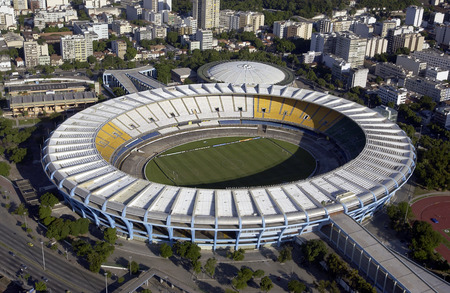 Aerial view of the Estadio do Maracana or Maracana Stadium in Rio de Janeiro, Brazil  Host the FIFA World Cup of 2014