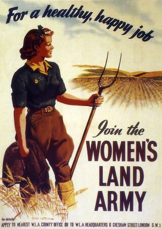 wartime: British World War Two poster - Join the Womans Land Army - 1941 Editorial