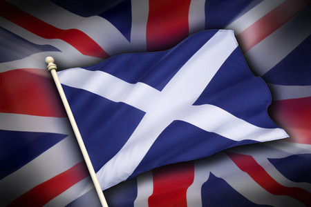 The flag of the United Kingdom and the flag of Scotland - Scottish Independence