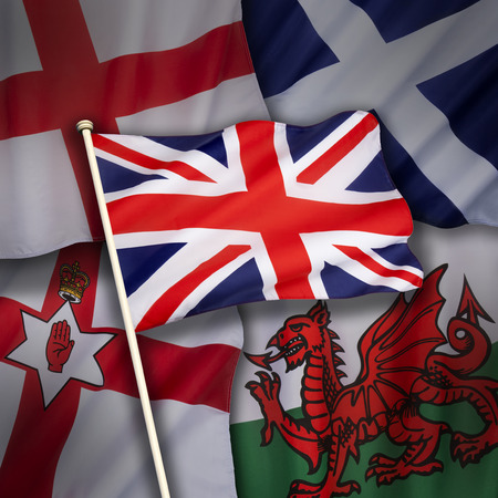 symbolism: The flags of the United Kingdom of Great Britain - England, Scotland, Wales and Northern Ireland.