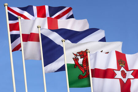 welsh flag: Flags of the United Kingdom of Great Britain - England, Scotland, Wales, Northern Ireland and the Union Flag.