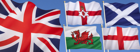 Flags of the United Kingdom of Great Britain - England, Scotland, Wales, Northern Ireland and the Union Flag. photo