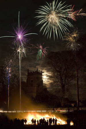 guy fawkes night: Bonfire and firework display to celebrate the November the 5th anniversary of the Gunpowder Plot - this was a plot by Catholic extremists lead by Guy Fawkes to blow up King James 1st and the British Houses of Parliament in 1605.