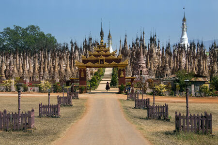 3rd century: Rows of Stupa in the Kakku Buddhist Temple in Shan State in Myanmar (Burma). This ancient temple has 2478 stupa and dates from the 3rd century BC. Editorial