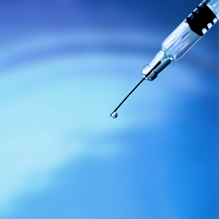 intramuscular: Hypodermic syringe - used to administer drugs by intravenous or intramuscular injection Stock Photo