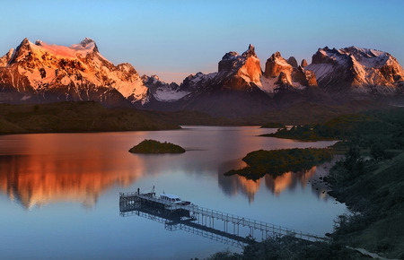 Sunrise in Torres del Paine National Park in Patagonia in Southern Chile. South America