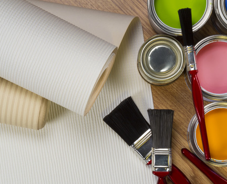 Interior Design - wallpaper and water-based paints used in painting and decorating. Stock Photo