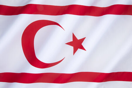 disputed: The flag of the Turkish Republic of Northern Cyprus - TRNC is a self-declared state that comprises the northeastern portion of the island of Cyprus. Recognised only by Turkey. A buffer zone under the control of the United Nations stretches between Norther