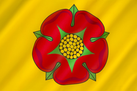 lancashire: The British Regional flag of Lancashire - the flag of the County Palatine of Lancaster. The Red Rose of Lancaster is a symbol for the House of Lancaster.