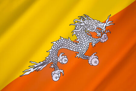 The National Flag Of Bhutan One Of The National Symbols Of Stock