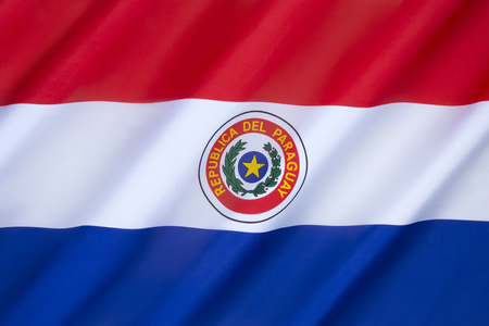 an obverse: National flag of Paraguay - adopted in 1842. It is unusual because it differs on obverse and reverse sides (this the obverse side).
