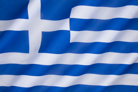 Flag of Greece - Officially adopted by the First National Assembly at Epidaurus on 13 January 1822. Stock Photo