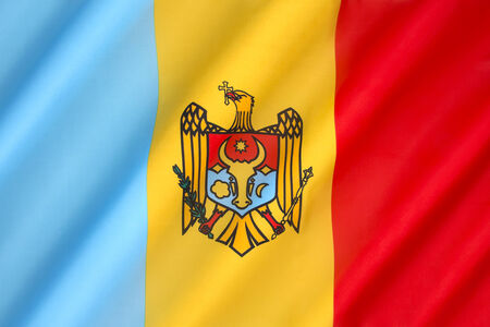 southeast europe: The regional flag of the Moldovia (or Moldavia) - a former principality of southeast Europe.  In 1861 Moldavia united with Wallachia to form Romania. Stock Photo