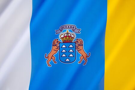 autonomous: The flag of the Autonomous Community of the Canary Islands - The tricolour flag has its origins in the Canarias Libre movement of the 1960s.