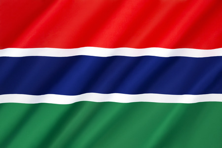 protectorate: Flag of the Gambia - Adopted in 1965 to replace the British Blue Ensign and the arms of the Gambia Colony and Protectorate, it has been the flag of the Republic of the Gambia since the country gained independence in1965. Stock Photo
