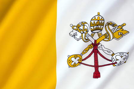 governed: Flag of Vatican City - The flag of Vatican City was adopted on 7th June 1929, the year Pope Pius XI signed the Lateran Treaty with Italy, creating a new independent state governed by the Holy See. Stock Photo