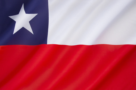 chilean flag: Flag of Chile - adopted on 18th October 1817. The Chilean flag is also known in Spanish as La Estrella Solitaria. Stock Photo
