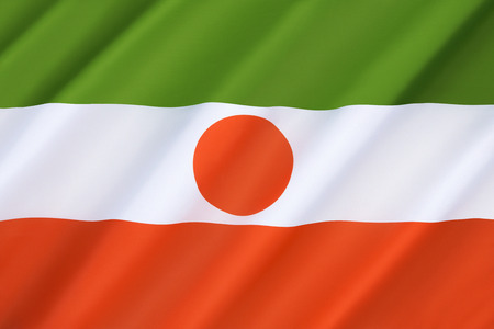 prior: Flag of Niger - the national symbol of the West African Republic of Niger since 1959, a year prior to its formal independence from France. Stock Photo