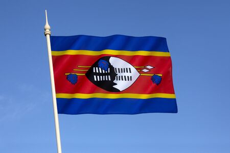 gained: The state and war flag of Swaziland - adopted after Swaziland gained independence from Britain on 6th September 1968. Stock Photo
