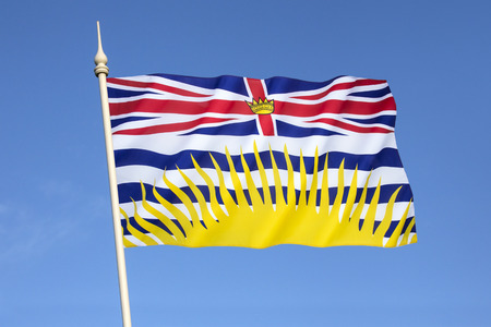 Flag of British Columbia - Canada. Based upon the shield of the provincial arms of British Columbia.