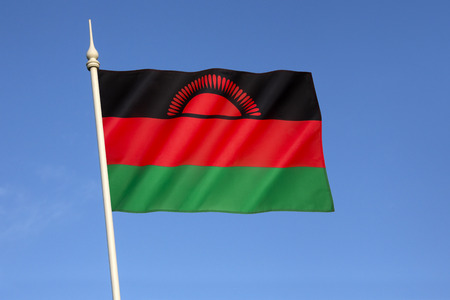 renamed: Flag of Malawi - officially adopted on 6th July 1964 when the colony of Nyasaland became independent from British rule and renamed itself Malawi. Stock Photo
