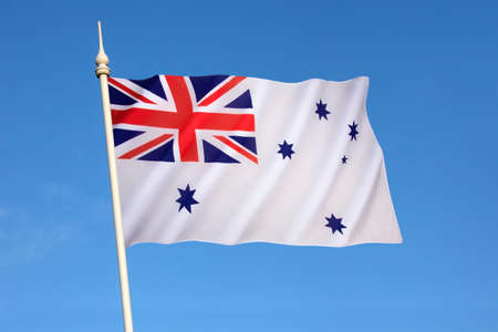 chorąży: Australian White Ensign - a naval ensign used by ships of the Royal Australian Navy from 1967 onwards.