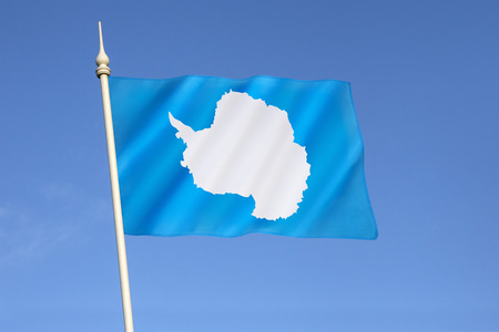 neutrality: Antarctica has no official flag as it is not a nation nor is it ruled by a single government. This is the most widly used flag - a plain white map of the continent on a pale blue background that symbolizes neutrality. The flag was flown on the Antarctic c