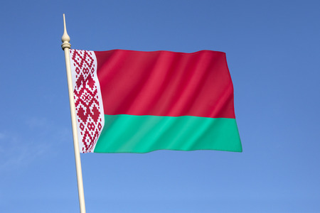 adapted: Flag of Belarus -  introduced in 2012 by the State Committee for Standardization of the Republic of Belarus, and is adapted from a design approved in a referendum in May 1995. Stock Photo