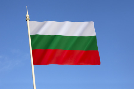 confirmed: Flag of Bulgaria - adopted after the Russo-Turkish War (1877 - 1878), where Bulgaria gained independence. The current flag was re-established with the 1991 Constitution of Bulgaria and was confirmed in a 1998 law. Stock Photo