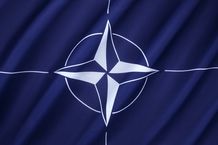 nato: The flag of the North Atlantic Treaty Organization (NATO) - Adopted three years after the creation of the organization, it has been the flag of NATO since October 14, 1953. The blue colour symbolizes the Atlantic Ocean, while the circle stands for unity.