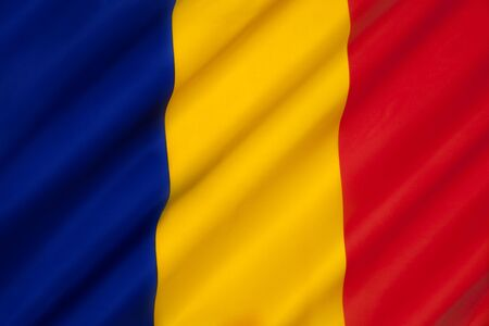 similarity: The national flag of Chad. The flag is very similar to the civil flag of Andorra and the flag of Romania. The similarity with the Romanian flag, which differs only in having a lighter shade of blue, has caused international issues. Stock Photo