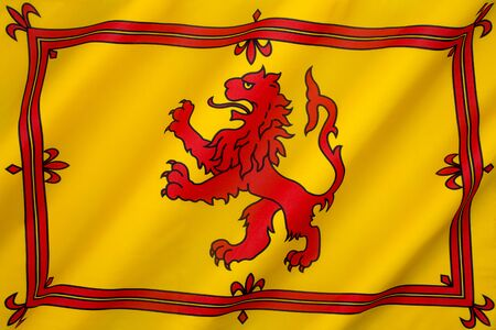 rampant: The Royal Banner of the Royal Arms of Scotland or more commonly the Lion Rampant of Scotland. Used historically by the King of Scots. Stock Photo