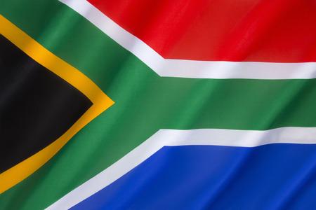 La bandiera del Sud Africa è stata adottata il 27 aprile 1994, per sostituire la bandiera che era stato usato dal 1928. La nuova bandiera nazionale, progettata da Stato Herald Federico Brownell, è stato scelto per rappresentare la nuova democrazia. Archivio Fotografico - 35944562