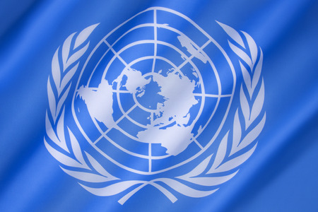 united nations: Flag of the United Nations - adopted on 20th October 1947, and consists of the official emblem of the United Nations on a pale blue background.