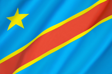 Flag of the Democratic Republic of the Congo (Congo-Kinshasa, DROC) - adopted on 20th February 2006. (Not to be confused with the neighbouring Republic of the Congo). Stock Photo