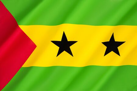 principe: Bandera de Santo Tom� y Pr�ncipe - Aprobada para reemplazar la bandera de Portugal de la �poca colonial, ha sido la bandera de la Rep�blica Democr�tica de Santo Tom� y Pr�ncipe desde que el pa�s obtuvo la independencia.