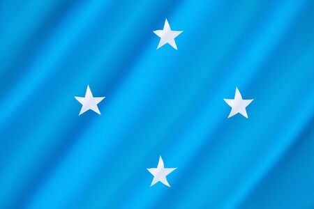 federated: Flag of the Federated States of Micronesia - adopted on 30th November 1978. The blue background represents the Pacific Ocean, the four stars represent the states in the federation: Chuuk, Pohnpei, Kosrae and Yap.