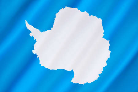 neutrality: Antarctica has no official flag as it is not a nation nor is it ruled by a single government. This is the most widly used flag - a plain white map of the continent on a blue background symbolizes neutrality. The flag was flown on the Antarctic continent f Stock Photo
