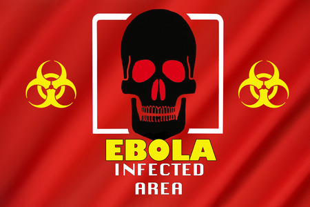 transmissible: Warning Flag - Ebola Outbreak - Infected Area.  Biohazard warning of an Ebola infected area.