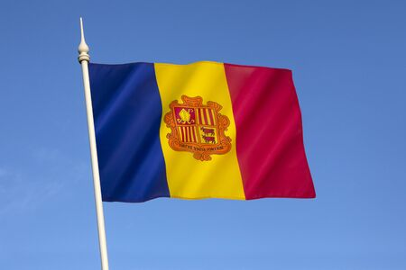 tourism in andorra: The national flag of the Principality of Andorra  - adopted in 1866.