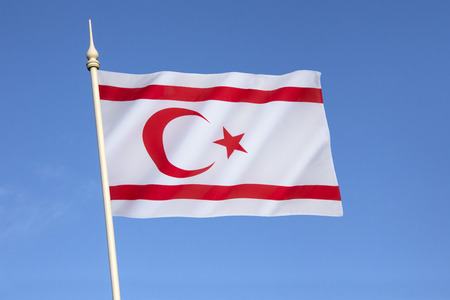 disputed: Flag of the Turkish Republic of Northern Cyprus - TRNC is a self-declared state in the northeastern part of Cyprus. Recognised only by Turkey. A buffer zone under the control of the United Nations separates Northern Cyprus from the rest of the island and  Stock Photo