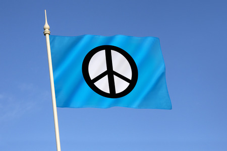 wmd: Flag of the Campaign for Nuclear Disarmament  (CND) - a British organization which campaigns for the abolition of nuclear weapons worldwide and calls for unilateral disarmament.