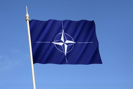 verdrag: Vlag van de Noord-Atlantische Verdragsorganisatie (NAVO) - Aangenomen drie jaar na de oprichting van de organisatie, het is de vlag van de NAVO sinds oktober 1953.