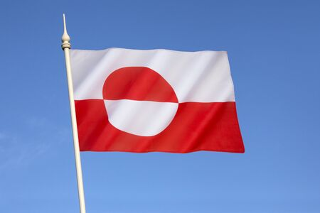nordic country: Flag of Greenland - designed by Greenland native Thue Christiansen. The flag of Greenland is the only national flag of a Nordic country or territory without a Nordic Cross. Stock Photo