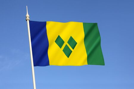 grenadines: Flag of Saint Vincent and the Grenadines - adopted on 21st October 1985. An island country in the Lesser Antilles in the southern portion of the Windward Islands in the Caribbean.