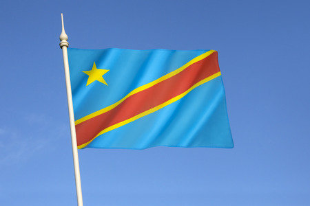 neighbouring: Flag of the Democratic Republic of the Congo (Congo-Kinshasa, DROC) - adopted on 20th February 2006. (Not to be confused with the neighbouring Republic of the Congo). Stock Photo