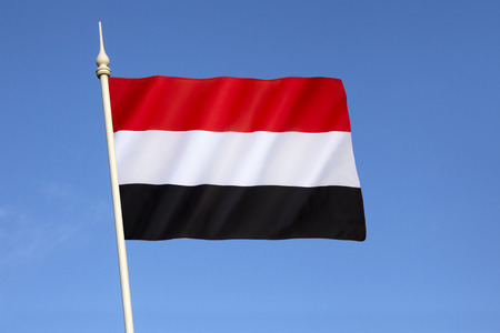 essentially: Flag of Yemen - adopted on 22nd May 1990, the day that North Yemen and South Yemen were unified. The flag is essentially the Arab Liberation Flag of 1952. Stock Photo