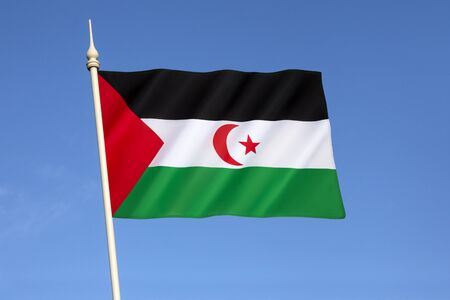 disputed: This is the flag used in the area controlled by the Sahrawi Arab Democratic Republic since the withdrawal of the Spanish forces in 1976. Morocco controls most of the territory, and the Polisario Front controls the remainder.